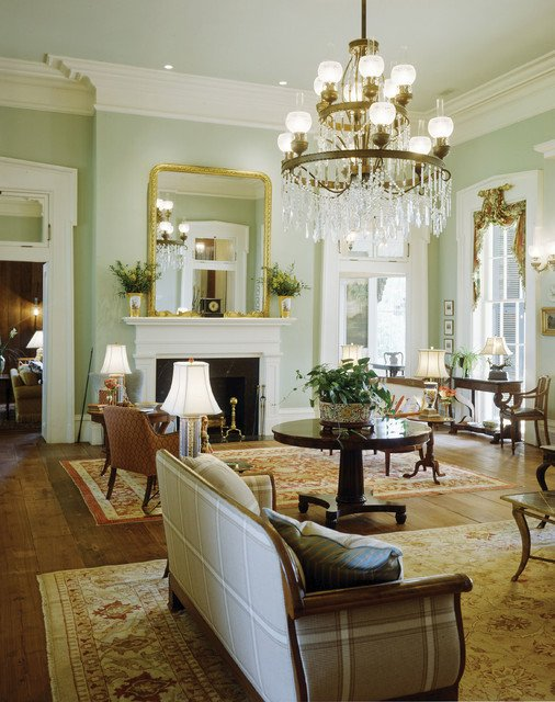 Southern Traditional Living Room Plantation Style southern Estate Traditional Living