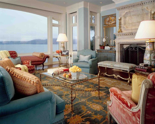 Southern Traditional Living Room Seacliff southern Traditional Living Room San