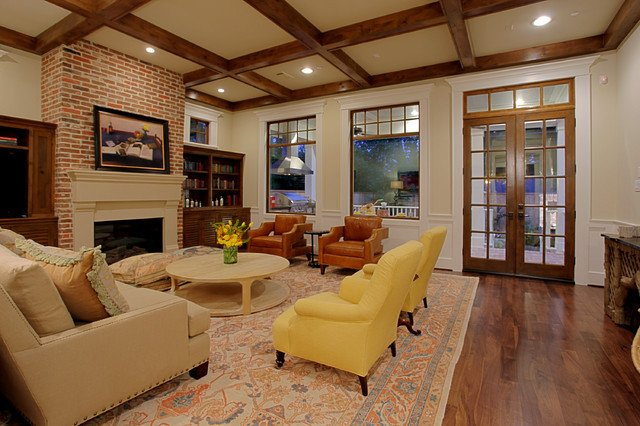 Southern Traditional Living Room Stone Acorn Builders southern Living Showcase 2012
