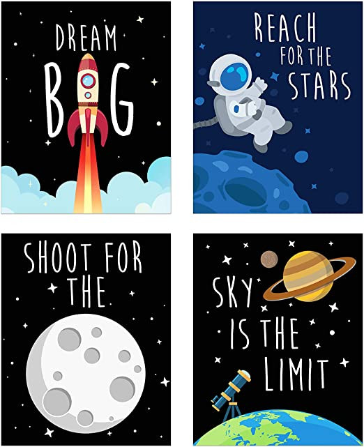 Space Decor for Bedroom Space Kids Nursery Bedroom Decor Set Of Four 8x10 Prints Cute Inspirational Wall Art Decoration for Boys and Girls