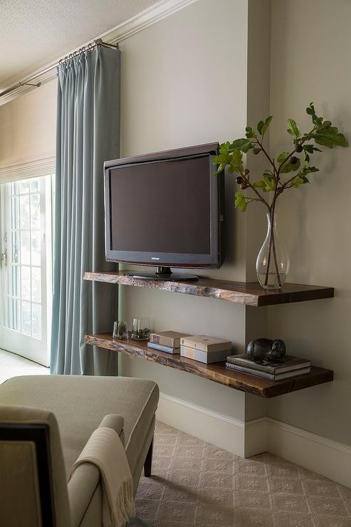 Table for Tv In Bedroom Live Edge Wall Shelf with Tv Transitional Bedroom