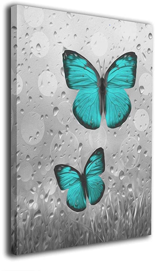 Teal and Gray Bedroom Decor Kingsleyton Teal Gray Vintage butterflies Modern Prints Canvas Wall Art Paintings Wall Painting Print Stretched and Framed Ready to Hang for Home Wall