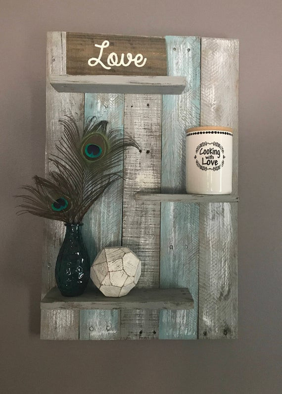 Teal and Gray Bedroom Decor Teal and Gray Wall Shelf Wall Shelf Wall Decor Pallet Shelf Pallet Wall Shelf Bathroom Decor Bathroom Pallet Decor Bedroom Decor