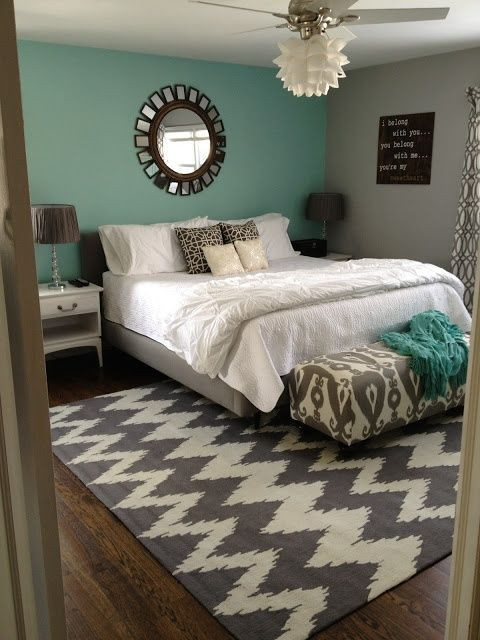 Teal and Gray Bedroom Decor Teal White & Grey Love This