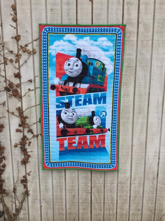 Thomas the Train Bedroom Decor Thomas the Train Quilt Birthday Decoration Gift Backdrop Centerpiece Percy James Steam Team toddler Gift Playtime Bedroom Decor