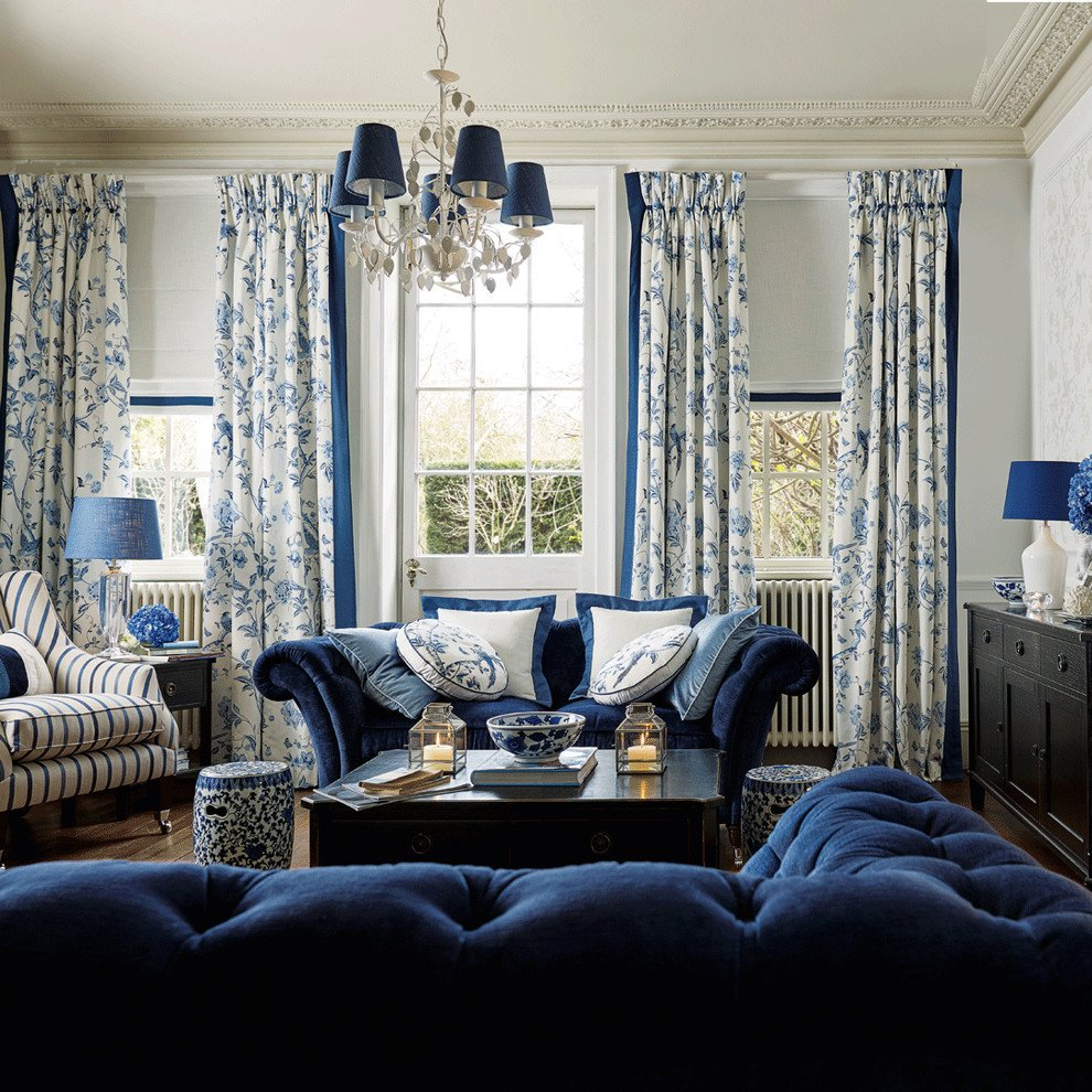 Traditional Blue Living Room Chesterfield Living Room Traditional with Blue Floral