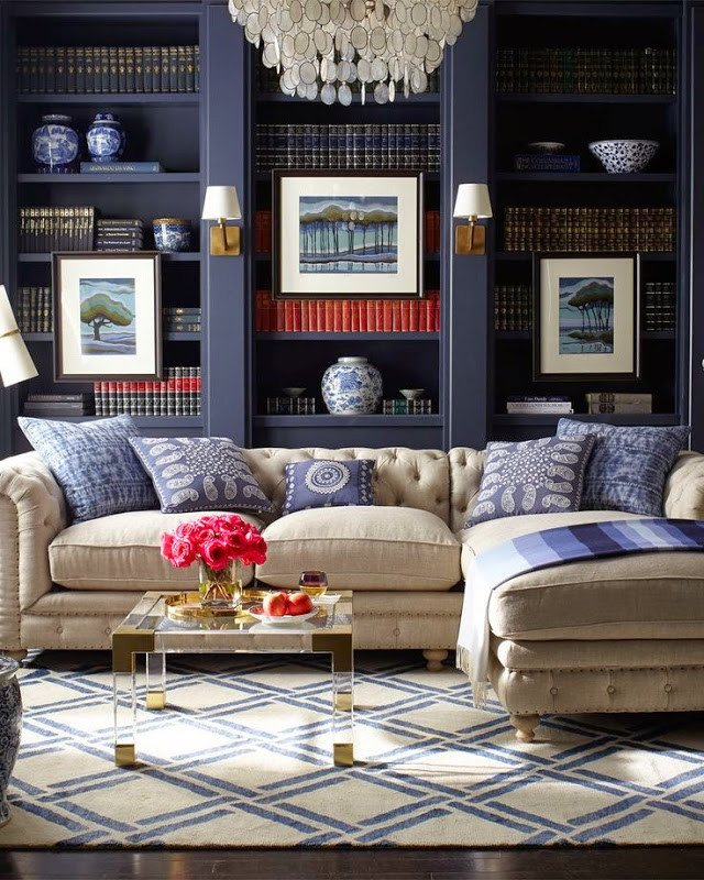 Traditional Blue Living Room Inspiration by Beauty Of Contrast Modern touches In