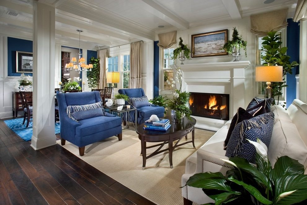 Traditional Blue Living Room orange County Navy Blue sofas Living Room Traditional with