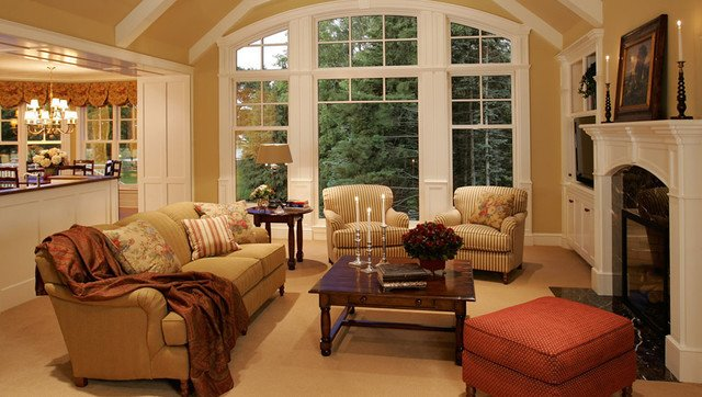 Traditional Chic Living Room New Home Construction Cottage Style Traditional Living
