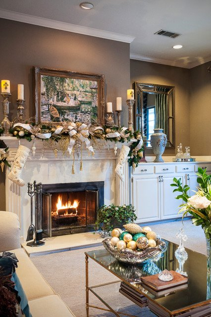 Traditional Christmas Living Room Christmas Decorating Traditional Living Room Dallas