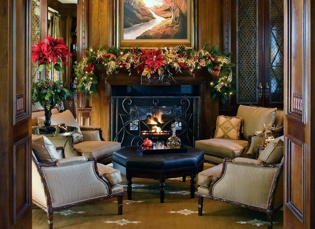 Traditional Christmas Living Room Christmas Decorations Traditional Living Room San