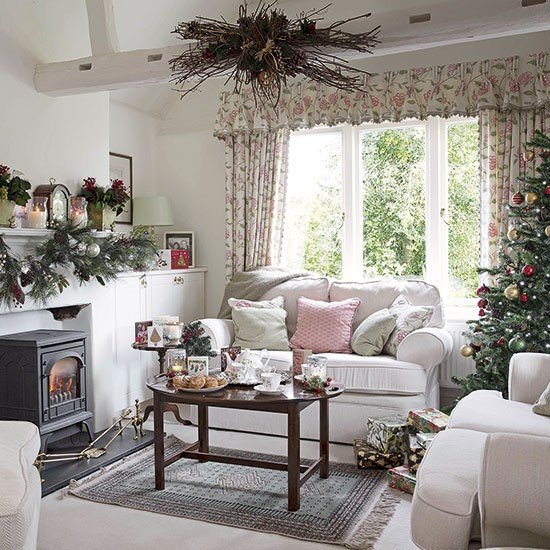 Traditional Christmas Living Room Country Floral Living Room Dressed for Christmas