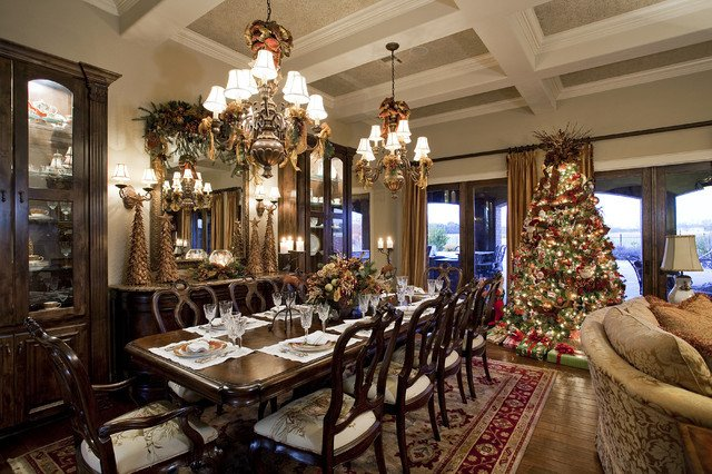 Traditional Christmas Living Room Traditional Christmas Living and Dining Room Victorian