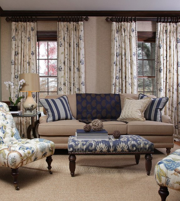 Traditional Draperies Living Room Blue Horizon Fabric Collection Traditional Living Room