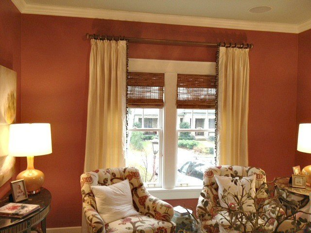 Traditional Draperies Living Room Cream Silk Curtain Panels with Trim Down Leading Edge