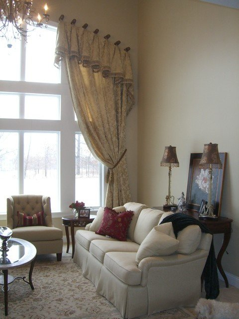 Traditional Draperies Living Room formal Great Room with Arched Window Treatment