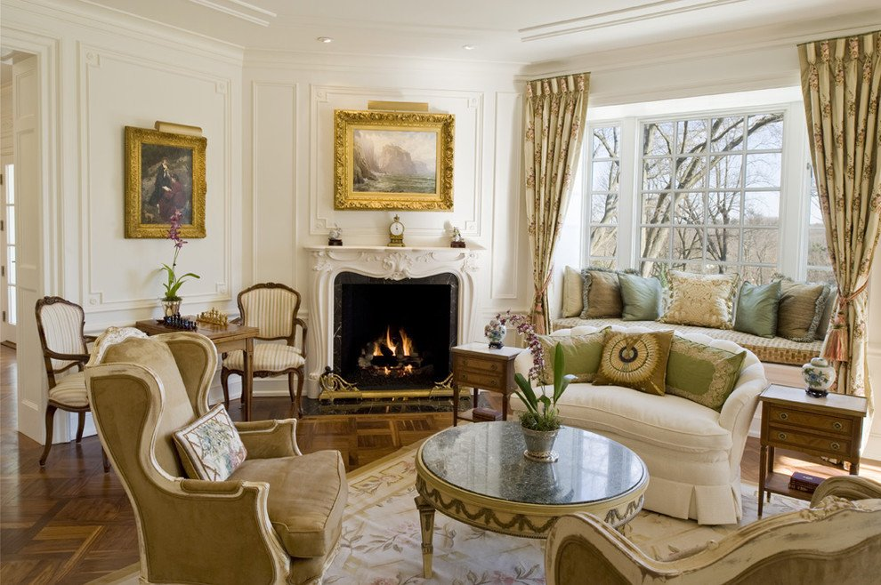 Traditional Draperies Living Room How to solve the Curtain Problem when You Have Bay Windows