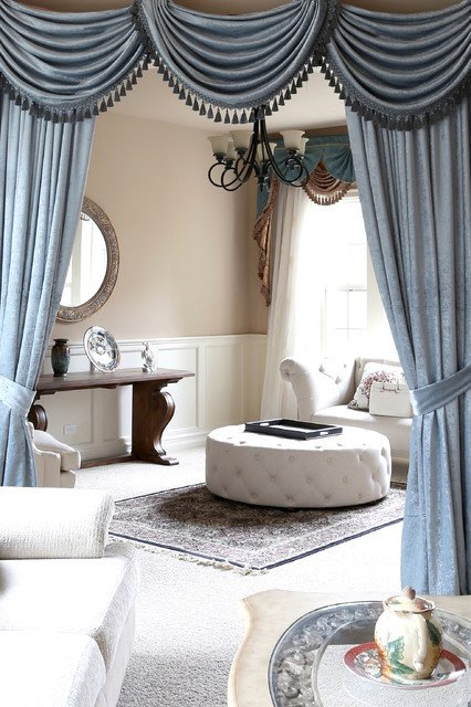 Traditional Draperies Living Room Valance Curtains with Swags and Tails by Celuce