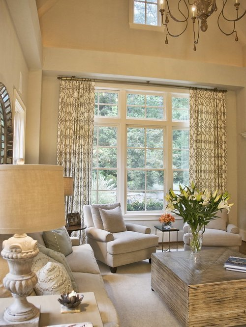 Traditional Draperies Living Room Vaulted Ceiling Window Treatments Home Design Ideas