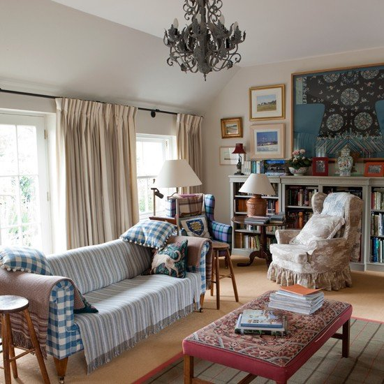 Traditional Eclectic Living Room Eclectic Tartan Living Room