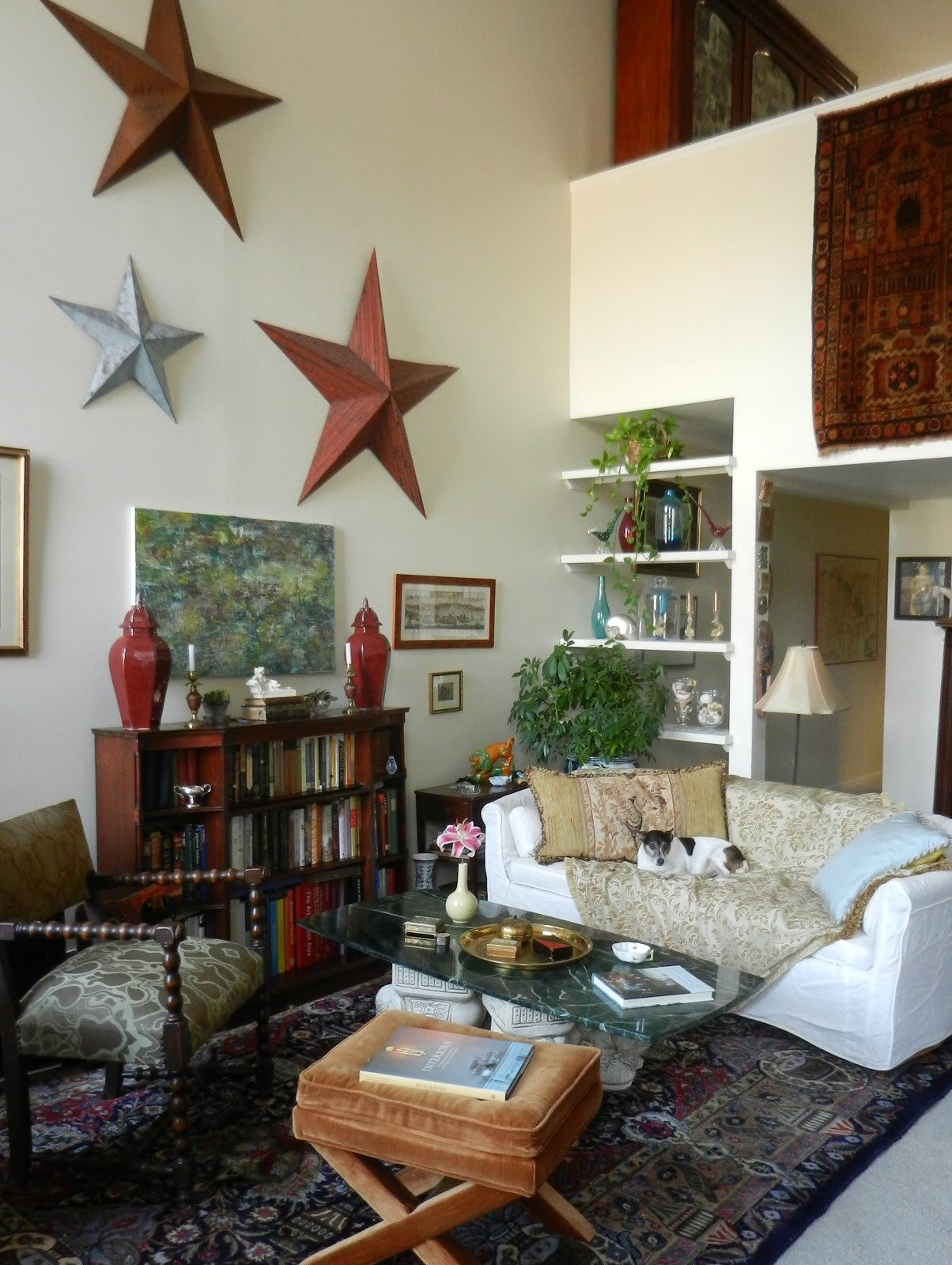 Traditional Eclectic Living Room Knickerbocker Style & Design Abstract Modern Art In A