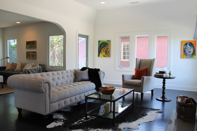 Modern Art in a Traditional Living Room eclectic living room los angeles