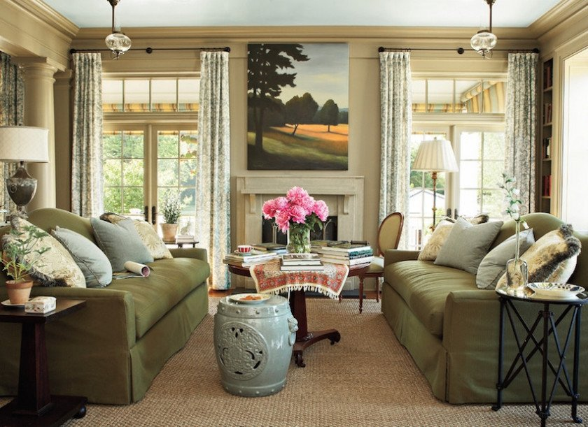 Traditional Green Living Room Decorating Around the Tv