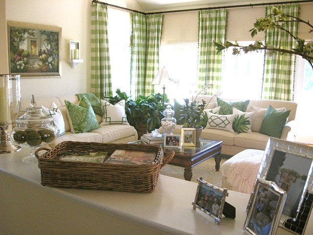 Traditional Green Living Room Green Living Room Traditional Living Room Los