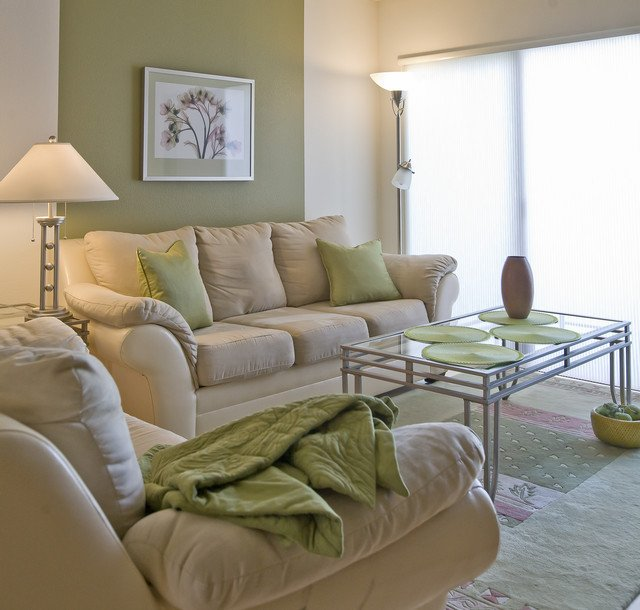 Traditional Green Living Room Green Tea Traditional Living Room Portland by