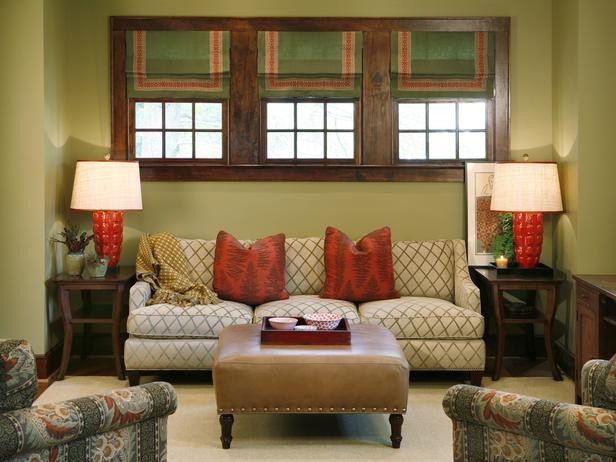 Traditional Green Living Room Green Traditional Living Room with Nailhead Coffee Table