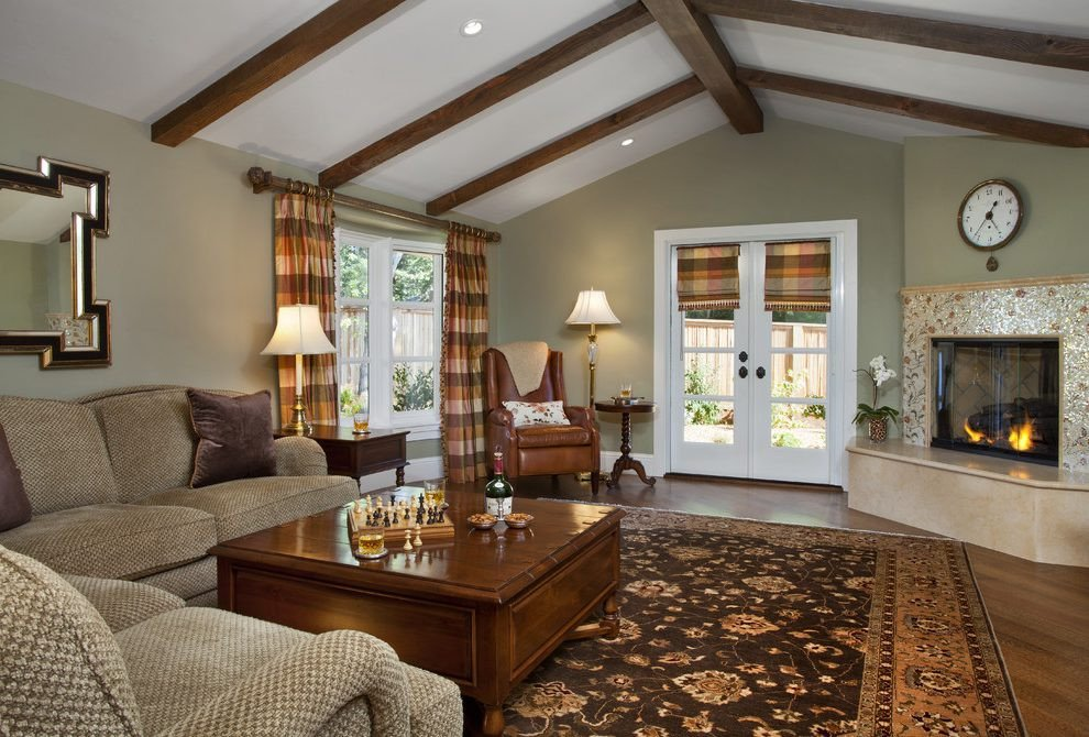 Traditional Green Living Room Olive Green Living Room Traditional with Checkered Roman