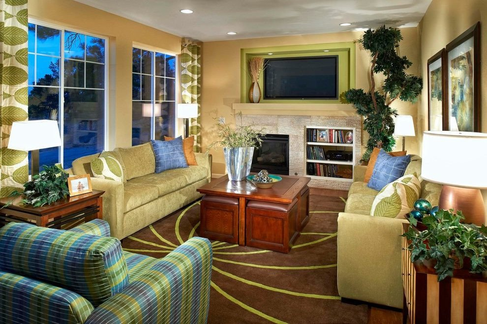 Traditional Green Living Room Olive Green sofa Living Room Traditional with New Home