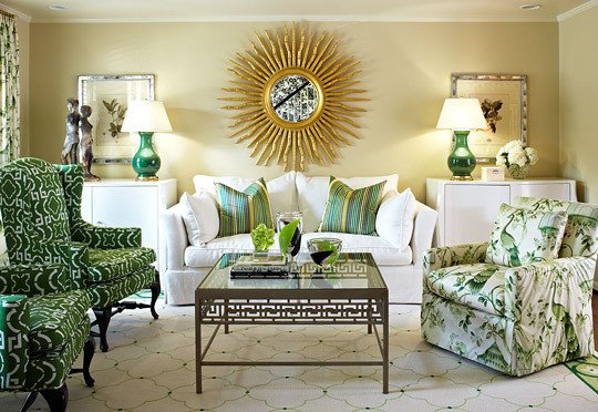 Traditional Green Living Room Suburban House with Great Color