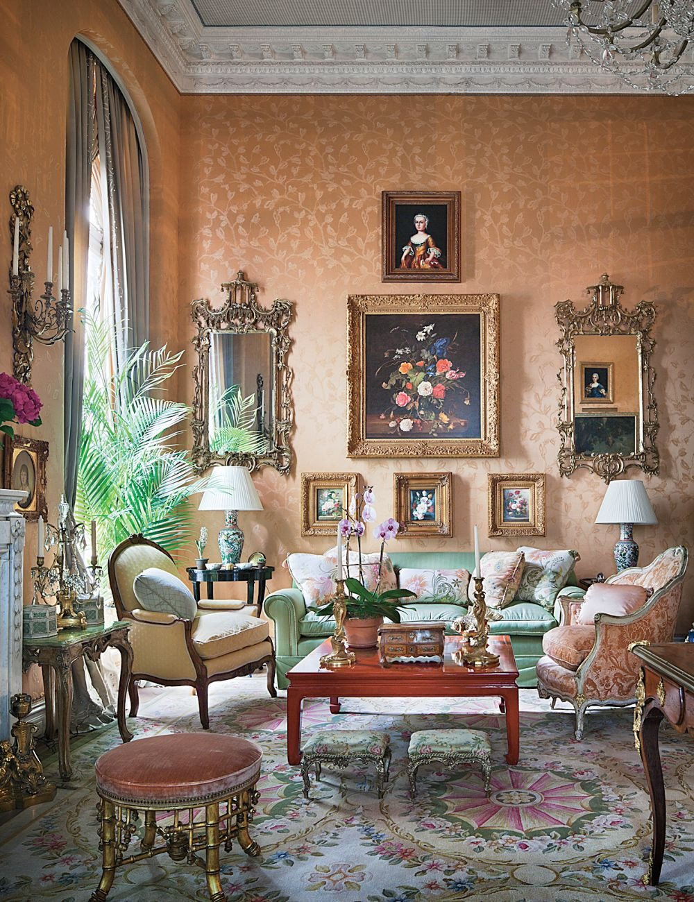 Traditional Living Room Apartment Traditional Living Room by Mario Buatta by Architectural