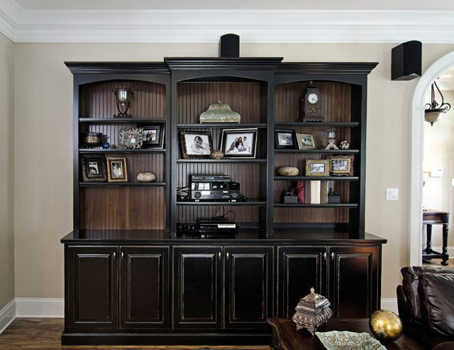 Traditional Living Room Bookcases Black Painted Bookcase with Beadboard Interior