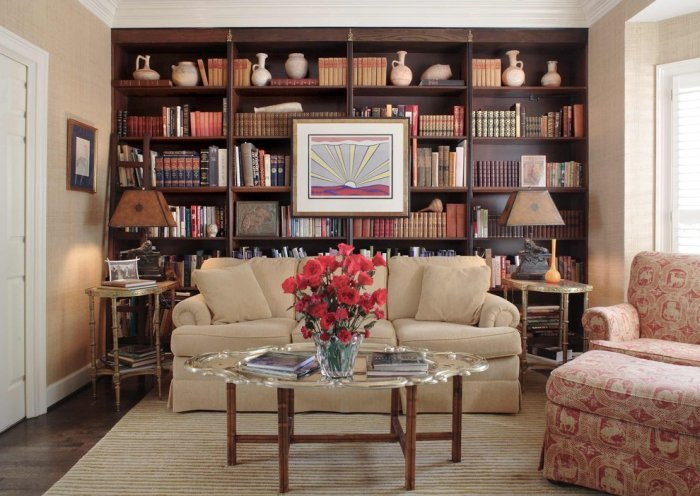 Traditional Living Room Bookcases Brown Bookcase Design In A Traditional Living Room