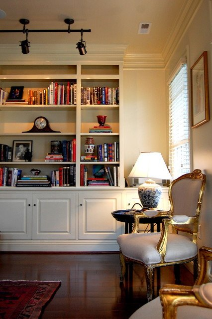 Custom built in bookcase traditional living room richmond