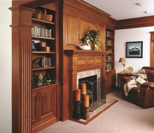 Traditional Living Room Bookcases Traditional Cherry Fireplace Mantel and Bookshelves