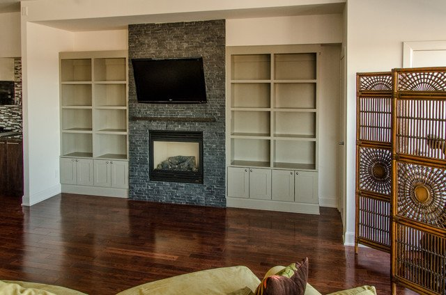 Traditional Living Room Bookcases Upper Beaches Condo Built In Bookcase Traditional