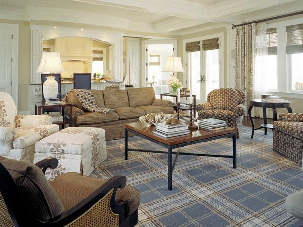 Traditional Living Room Carpets Casual Living Room with Menswear Inspired Plaid area Rug