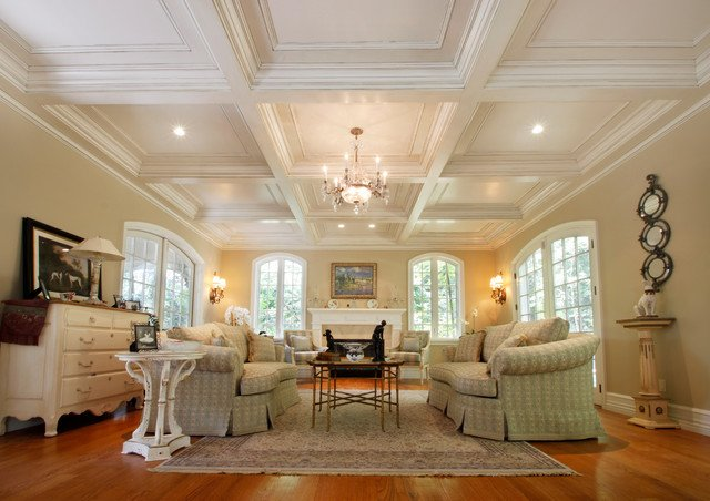 Traditional Living Room Ceiling Coffered Ceilings Traditional Living Room New York