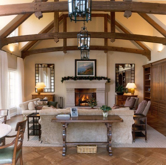 Traditional Living Room Ceiling Living Room W Wood Beam Ceiling Traditional Living