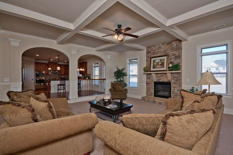 Traditional Living Room Ceiling Traditional Living Room with Ceiling Fan & Box Ceiling In