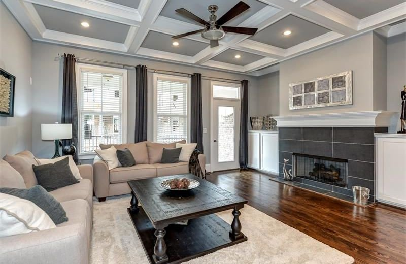 Traditional Living Room Ceiling Traditional Living Room with Ceiling Fan & Metal Fireplace