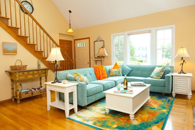 Traditional Living Room Color Color Infused Update Of Seaside Cottage Traditional