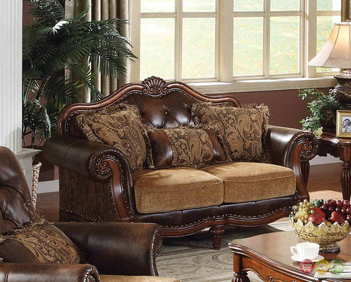 Traditional Living Room Furniture Dreena Traditional formal Living Room Set Carved Cherry