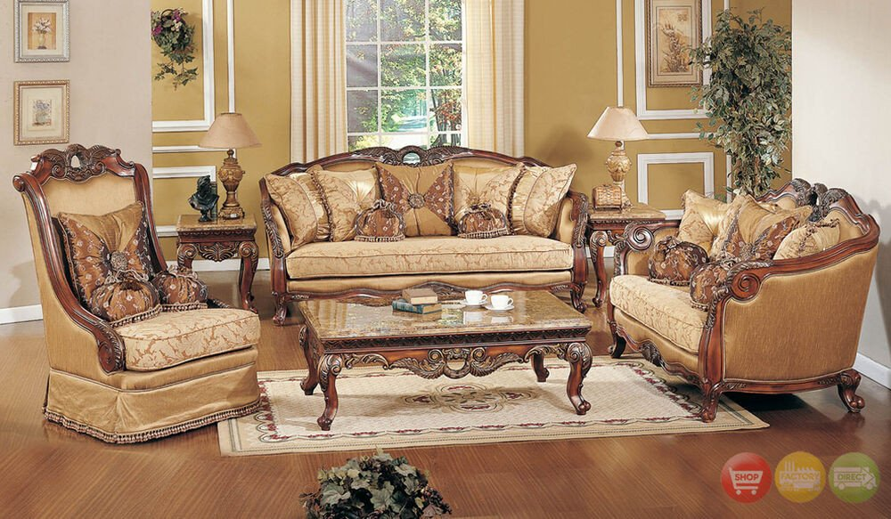 Traditional Living Room Furniture Exposed Wood Luxury Traditional sofa & Loveseat formal