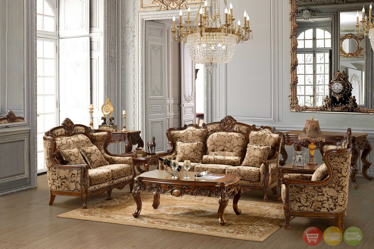 Traditional Living Room Furniture Luxurious Chenille sofa and Loveseat Set Hd 839