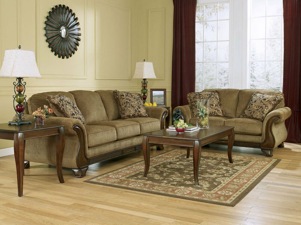 Traditional Living Room Furniture Santiago Traditional Brown Fabric Wood Trim sofa Couch Set