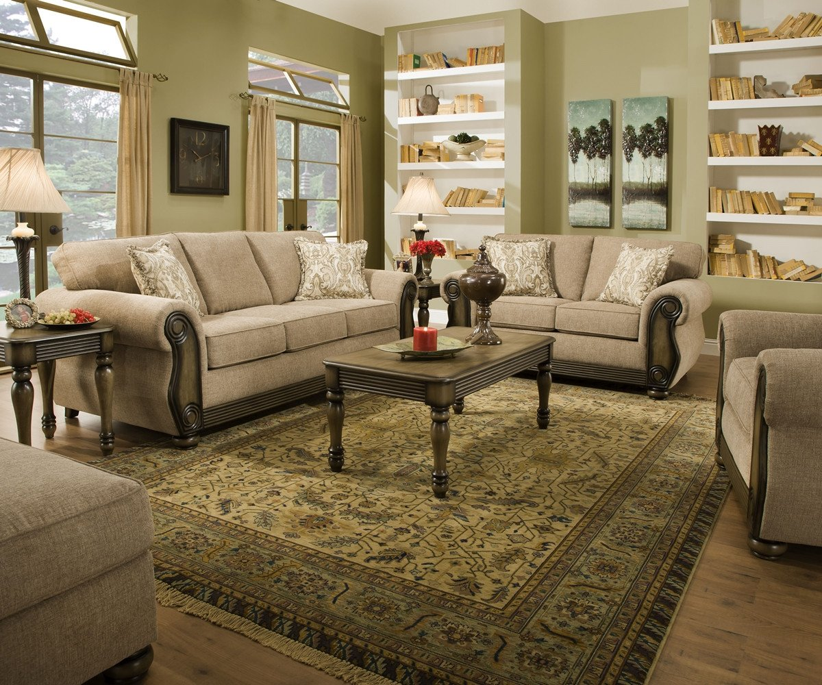 Traditional Living Room Furniture theory Dunes Traditional Beige Living Room Furniture Set W